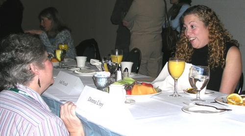 Pat Fowler speaking with Jodi Picoult at NEBA Award ceremony 2003